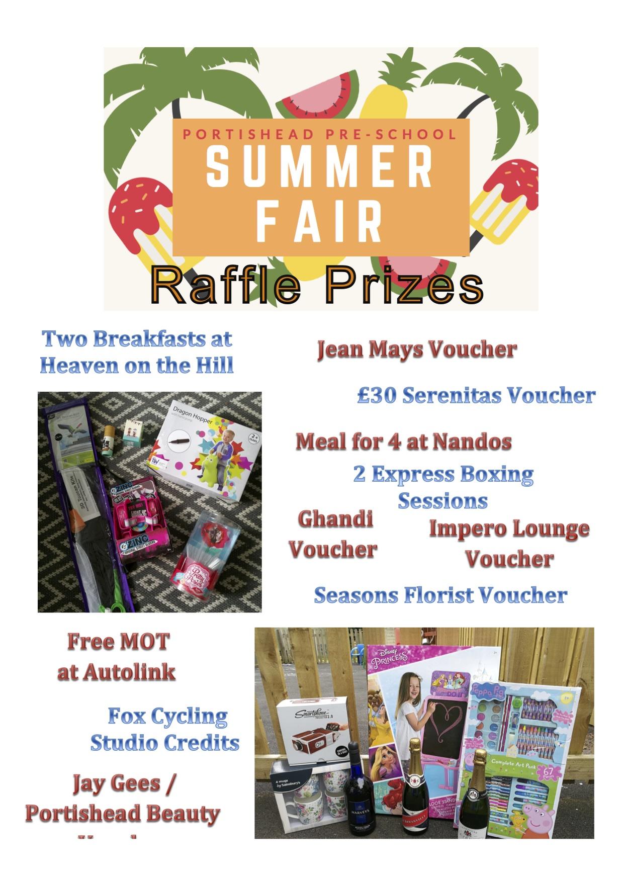 Raffle Prizes Portishead PreSchool